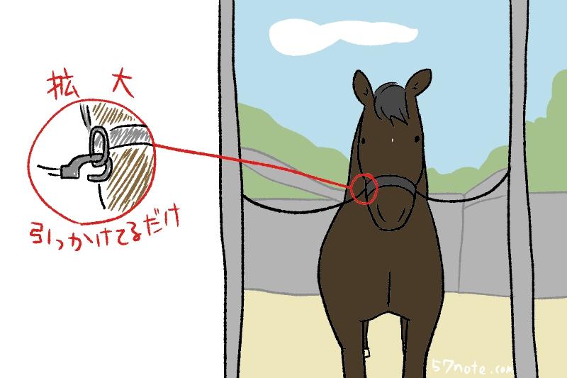 馬を繋ぐ金具が壊れてた